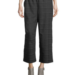 Eileen Fisher Plaid Cropped Wide Leg Wool Pants, M